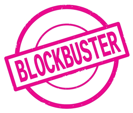 BLOCKBUSTER text, written on pink simple circle rubber vintage stamp. Stock Photo