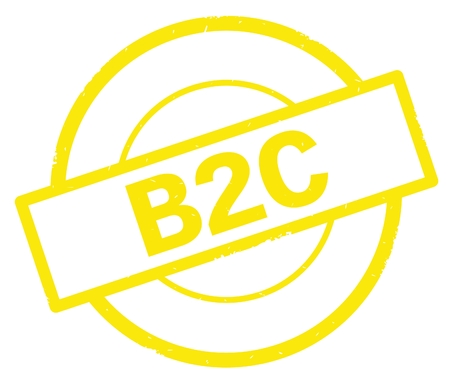 B2C text, written on yellow simple circle rubber vintage stamp.
