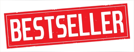 BESTSELLER text, on full red rectangle vintage textured stamp sign. Stock Photo