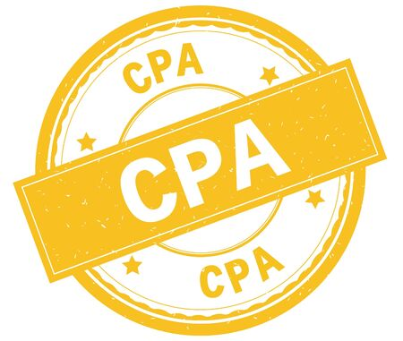 CPA , written text on yellow round rubber vintage textured stamp. Stock Photo