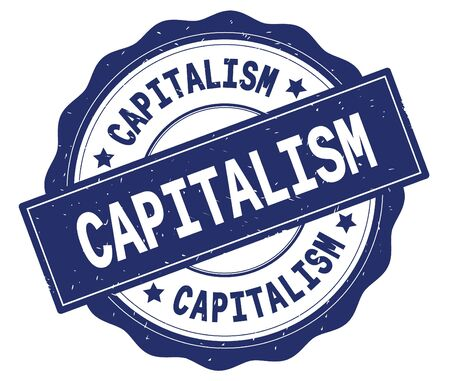 CAPITALISM text, written on blue, lacey border, round vintage textured badge stamp.