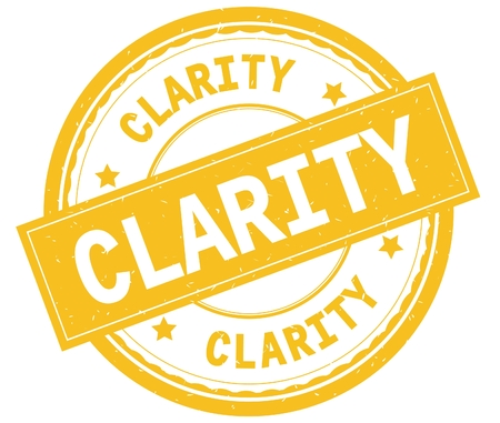 CLARITY , written text on yellow round rubber vintage textured stamp.