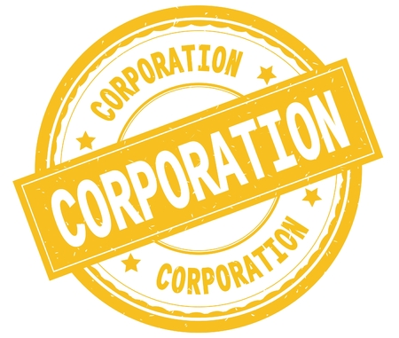 CORPORATION , written text on yellow round rubber vintage textured stamp.