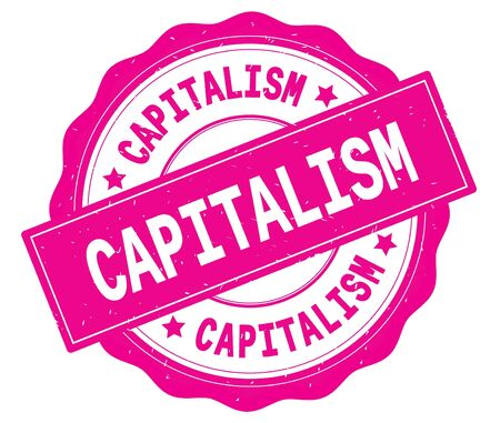 CAPITALISM text, written on pink, lacey border, round vintage textured badge stamp. Banco de Imagens