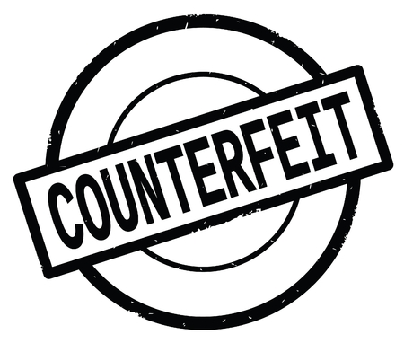 COUNTERFEIT text, written on black simple circle rubber vintage stamp.