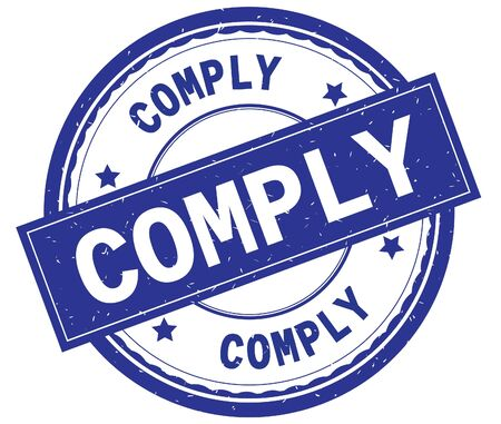 COMPLY , written text on blue round rubber vintage textured stamp. Stock Photo