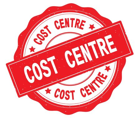COST CENTRE text, written on red, lacey border, round vintage textured badge stamp.