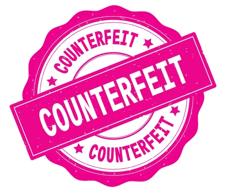 COUNTERFEIT text, written on pink, lacey border, round vintage textured badge stamp. Фото со стока - 90929482