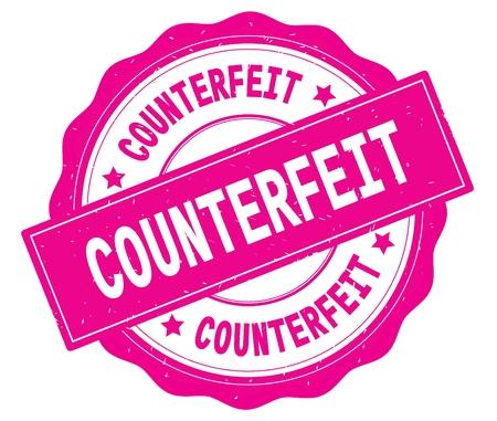 COUNTERFEIT text, written on pink, lacey border, round vintage textured badge stamp.