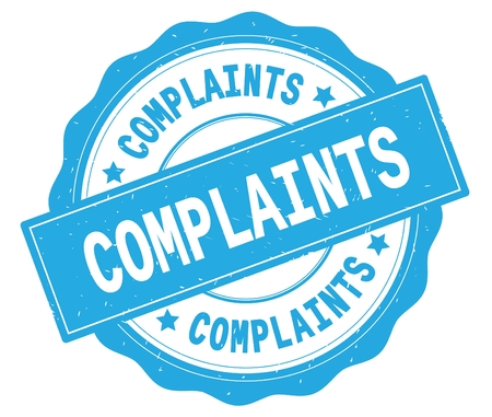 COMPLAINTS text, written on cyan, lacey border, round vintage textured badge stamp.