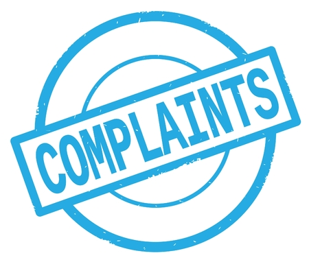 COMPLAINTS text, written on cyan simple circle rubber vintage stamp. Stock Photo