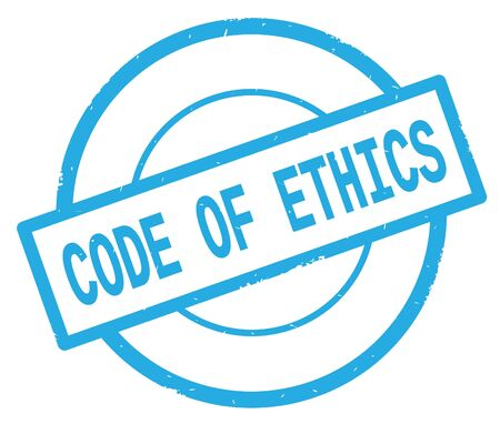 CODE OF ETHICS text, written on cyan simple circle rubber vintage stamp.