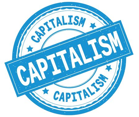 CAPITALISM , written text on cyan round rubber vintage textured stamp. Banco de Imagens
