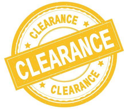 クリアランス、黄色の丸いゴムヴィンテージテクスチャスタンプに書かれたテキスト。 写真素材 - 90387727