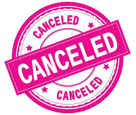 CANCELED , written text on pink round rubber vintage textured stamp. Imagens