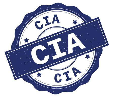 CIA text, written on blue, lacey border, round vintage textured badge stamp. Banco de Imagens