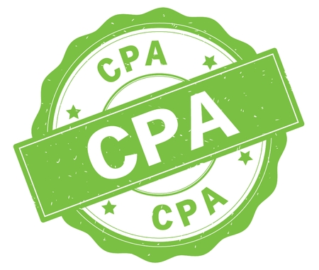 CPA text, written on green, lacey border, round vintage textured badge stamp.