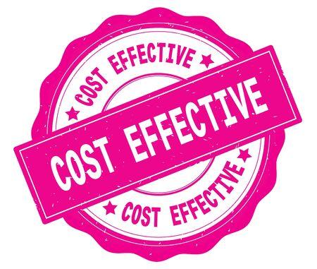 ピンク、レースの境界線、ラウンドヴィンテージテクスチャバッジスタンプに書かれたコスト効果的なテキスト。