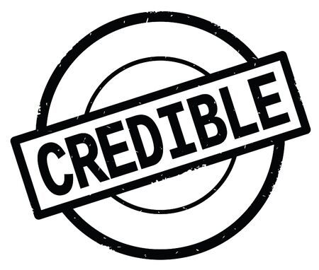 CREDIBLE text, written on black simple circle rubber vintage stamp.