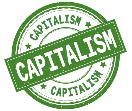 CAPITALISM , written text on green round rubber vintage textured stamp.