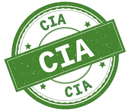 CIA , written text on green round rubber vintage textured stamp. Banco de Imagens