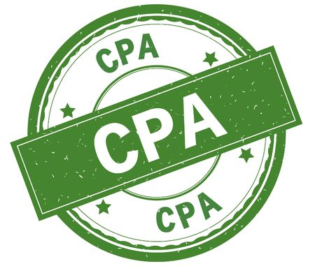 CPA , written text on green round rubber vintage textured stamp. Stock Photo