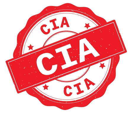 CIA text, written on red, lacey border, round vintage textured badge stamp.