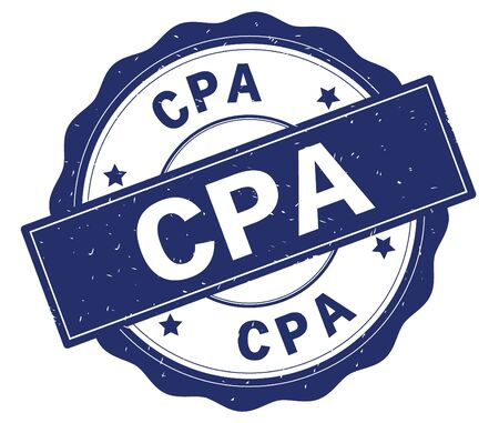 CPA text, written on blue, lacey border, round vintage textured badge stamp.