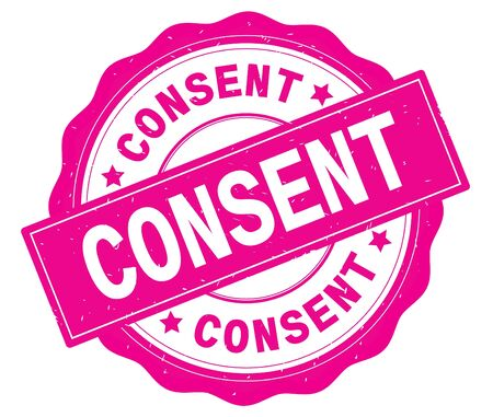 CONSENT text, written on pink, lacey border, round vintage textured badge stamp. Stock Photo