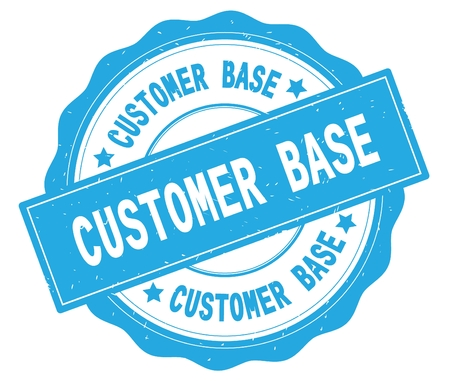CUSTOMER BASE text, written on cyan, lacey border, round vintage textured badge stamp. Banque d'images