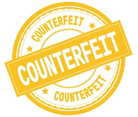 COUNTERFEIT , written text on yellow round rubber vintage textured stamp. Фото со стока