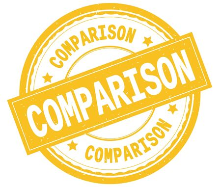 COMPARISON , written text on yellow round rubber vintage textured stamp. Stock Photo