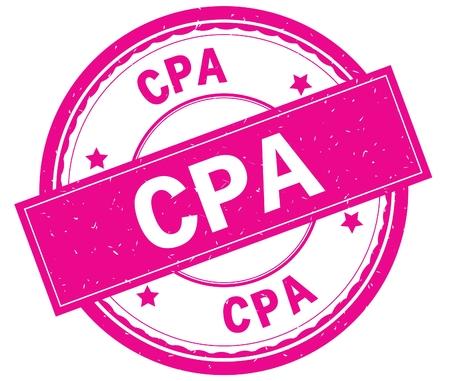 CPA , written text on pink round rubber vintage textured stamp.