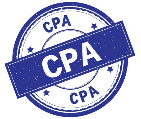 CPA , written text on blue round rubber vintage textured stamp.