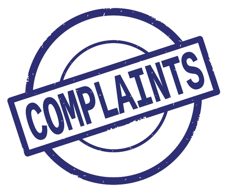 COMPLAINTS text, written on blue simple circle rubber vintage stamp. Stock Photo