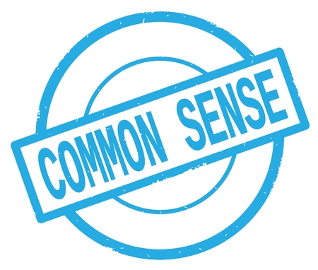 COMMON SENSE text, written on cyan simple circle rubber vintage stamp. Stock Photo