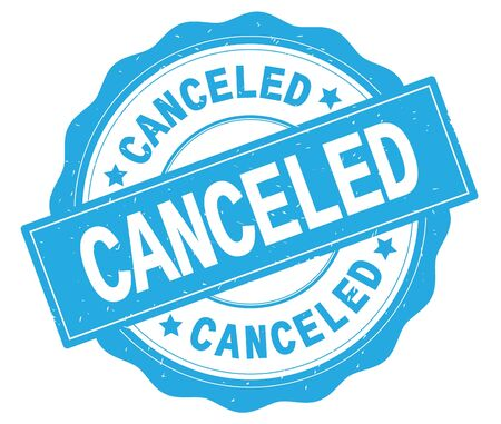 CANCELED text, written on cyan, lacey border, round vintage textured badge stamp. Imagens