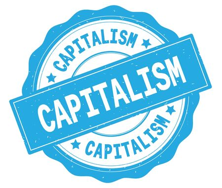 CAPITALISM text, written on cyan, lacey border, round vintage textured badge stamp. Banco de Imagens - 90320720