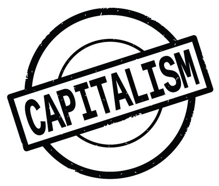 CAPITALISM text, written on black simple circle rubber vintage stamp. Banco de Imagens