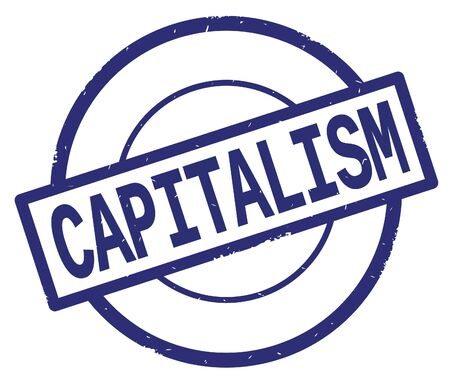 CAPITALISM text, written on blue simple circle rubber vintage stamp. Banco de Imagens