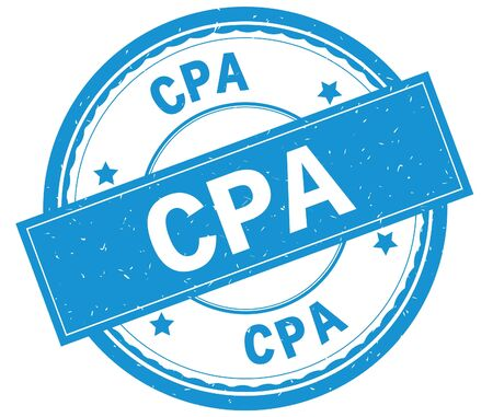 CPA , written text on cyan round rubber vintage textured stamp. Stock Photo