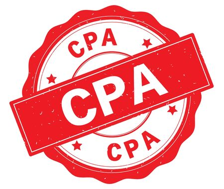 CPA text, written on red, lacey border, round vintage textured badge stamp. Stock Photo