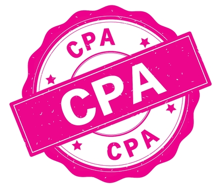 CPA text, written on pink, lacey border, round vintage textured badge stamp.