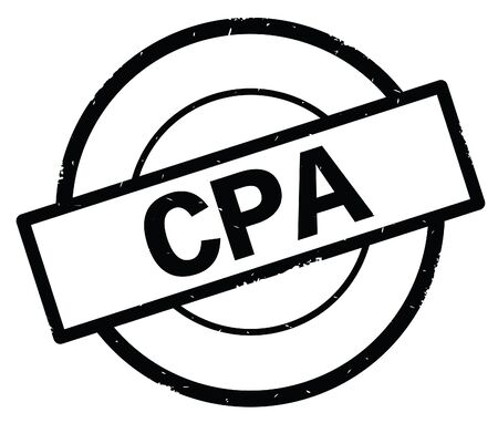 CPA text, written on black simple circle rubber vintage stamp.