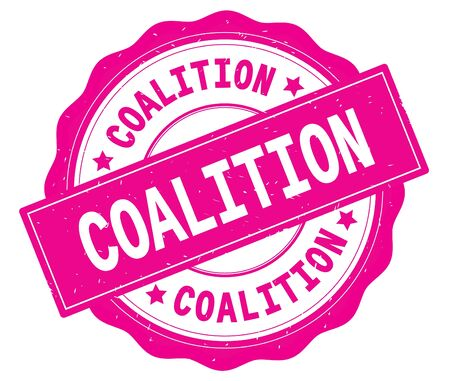 COALITION text, written on pink, lacey border, round vintage textured badge stamp.