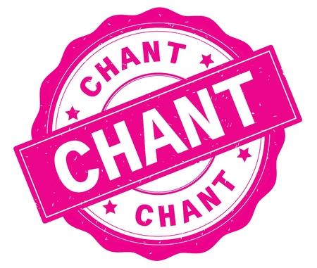 Texte de CHANT, écrit sur la frontière rose, dentelle, rond timbre d'insigne texturé vintage. Banque d'images - 90319738