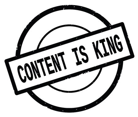 CONTENT IS KING text, written on black simple circle rubber vintage stamp. Stock Photo