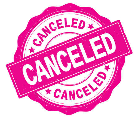 CANCELED text, written on pink, lacey border, round vintage textured badge stamp.