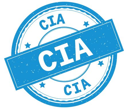 CIA , written text on cyan round rubber vintage textured stamp. Banco de Imagens