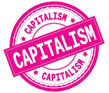 CAPITALISM , written text on pink round rubber vintage textured stamp.
